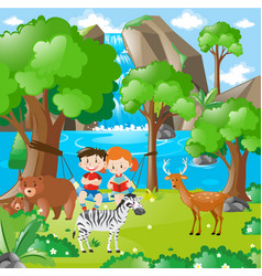 farm scene with kids and animals vector image