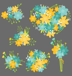 Floral bouquet in yellow and blue vector