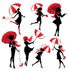 girl silphuette umbrella 380 vector image vector image