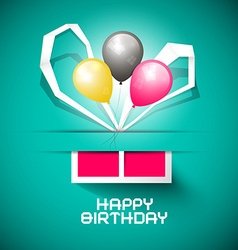 Happy Birthday Paper Card with Gift Box and vector image vector image
