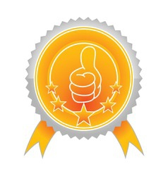 Illustration of best choice label with thumb up an vector