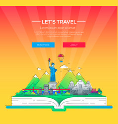 Lets travel - line travel vector