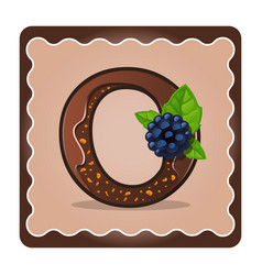 Letter o candies chocolate vector