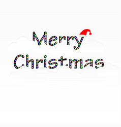 merry christmas text with cloud and santa claus vector image