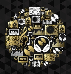 Music dj concept icon set vinyl cd shape gold vector image