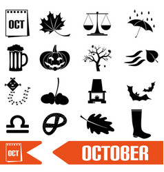 october month theme set of simple icons eps10 vector image vector image