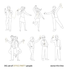 Office party people set thin line vector