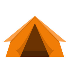 Orange touristic camping tent icon isolated vector