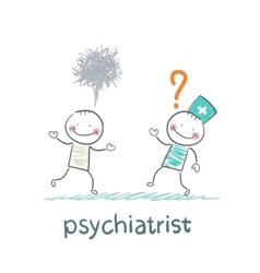 Psychiatrist afraid of crazy patient vector