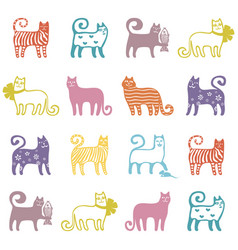 seamless cute cat pattern vector image vector image
