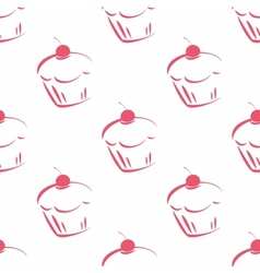 Seamless pattern or tile cupcake background vector image