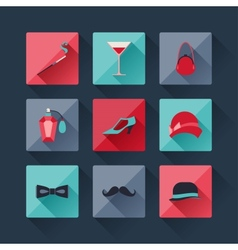 Set of retro fashion icons in flat design style vector image vector image