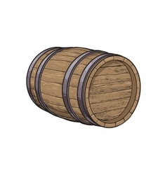 Side view of sketch style lying wooden barrel vector