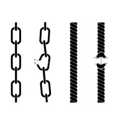 Silhouettes of chains and ropes vector
