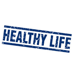 Square grunge blue healthy life stamp vector