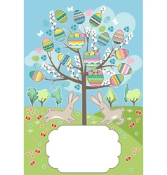 Stylized tree with rabbits - greeting card vector image