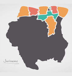 Suriname map with states and modern round shapes vector