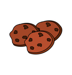 Tasty chocolate cookies and snack food vector
