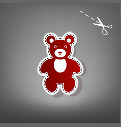 Teddy bear sign red icon vector