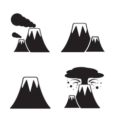 Volcano Icons Set vector image