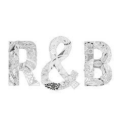Word r b for coloring decorative zentangle vector