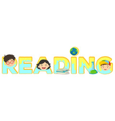 Word template for reading with happy kids in vector