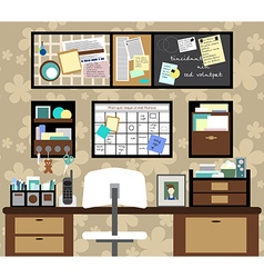 Working space with a desk chair planning boards vector