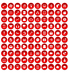 100 digital marketing icons set red vector