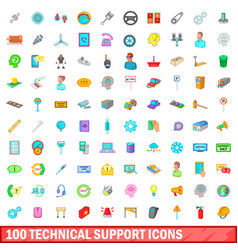 100 technical support icons set cartoon style vector