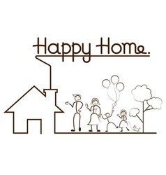 Happy family and home vector