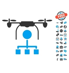 Drone distribution icon with free bonus vector