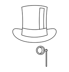 Hat with monocle icon outline style vector