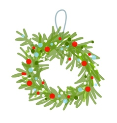Christmas wreath sketch for your design vector