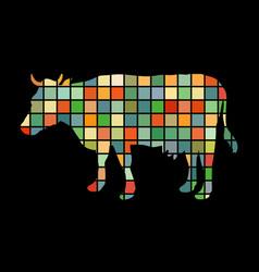 cow farm mammal color silhouette animal vector image