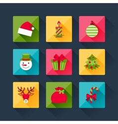 Set of christmas icons in flat design style vector