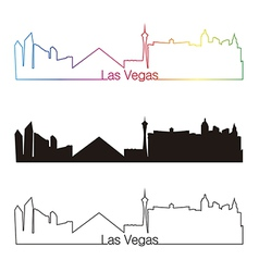 Las vegas skyline linear style with rainbow vector