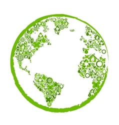 Green earth with ecological symbols vector
