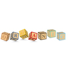 Word organic written with alphabet blocks vector