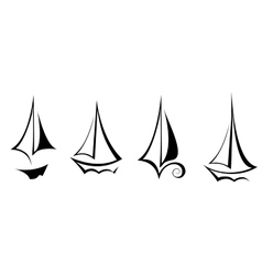 Flat design sailing yacht boat transportation icon vector