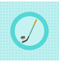 Hockey stick and puck flat icon vector