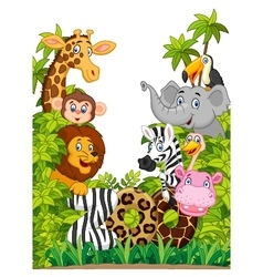 Cartoon collection happy animal of zoo vector