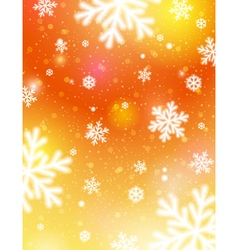 Golden background with bokeh and blurred snowflake vector