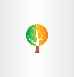 Tree logo green orange icon vector