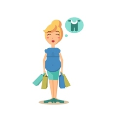 Pregnant woman holding shopping bags vector