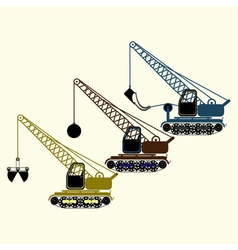 Color icon set with construction equipment vector