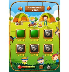 Game template with camping theme vector