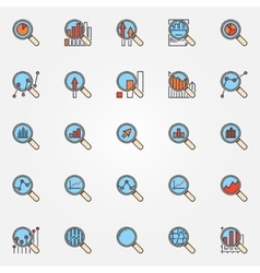 Magnifying glass colorful icons vector