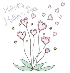 Pink heart flowers happy mother s day vector