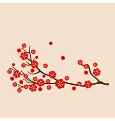 Red sakura vector image