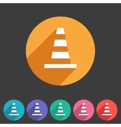 Traffic cone icon flat web sign symbol logo label vector